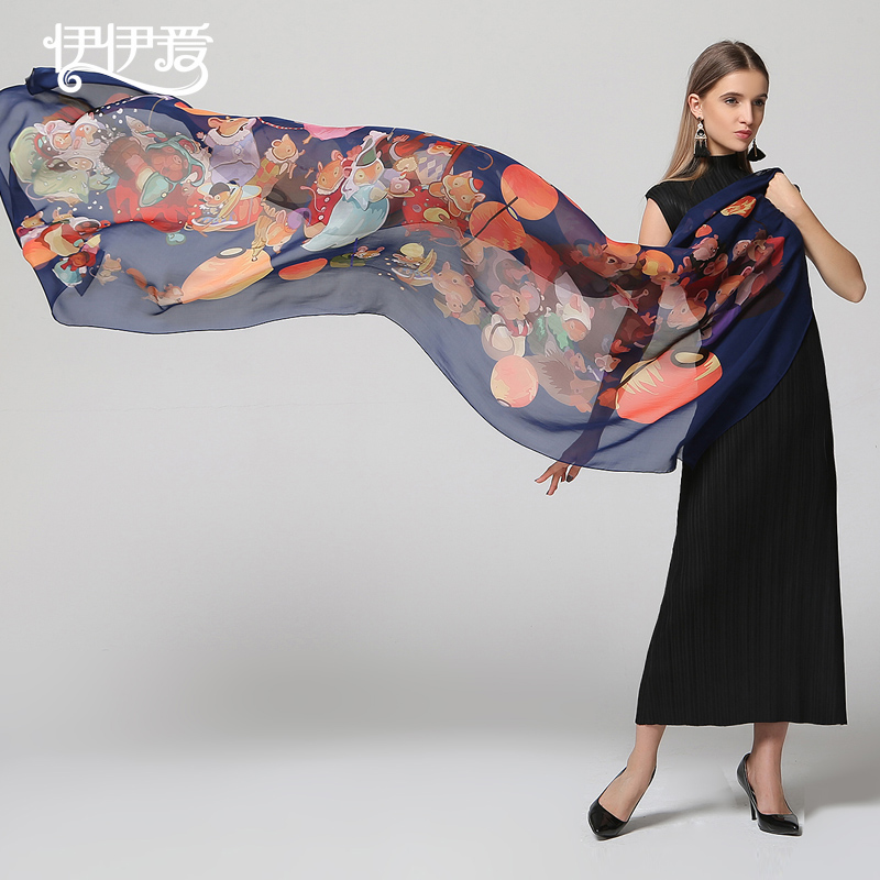 f7c4f9674 Get Quotations · Yiyiaisang japanese cartoon spring upscale silk scarves  silk scarf autumn and winter scarf shawl dual oversized