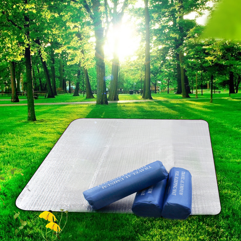 You ok with double sided aluminum outdoor picnic mat moisture pad thickening widening tent camping mat grass mat mat