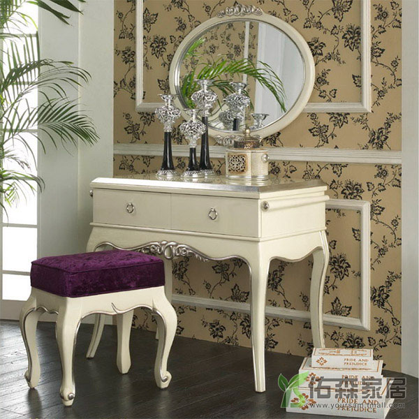 You sen neoclassical furniture wood dresser european french white piano lacquer bedroom furniture dressing table 2s-sp