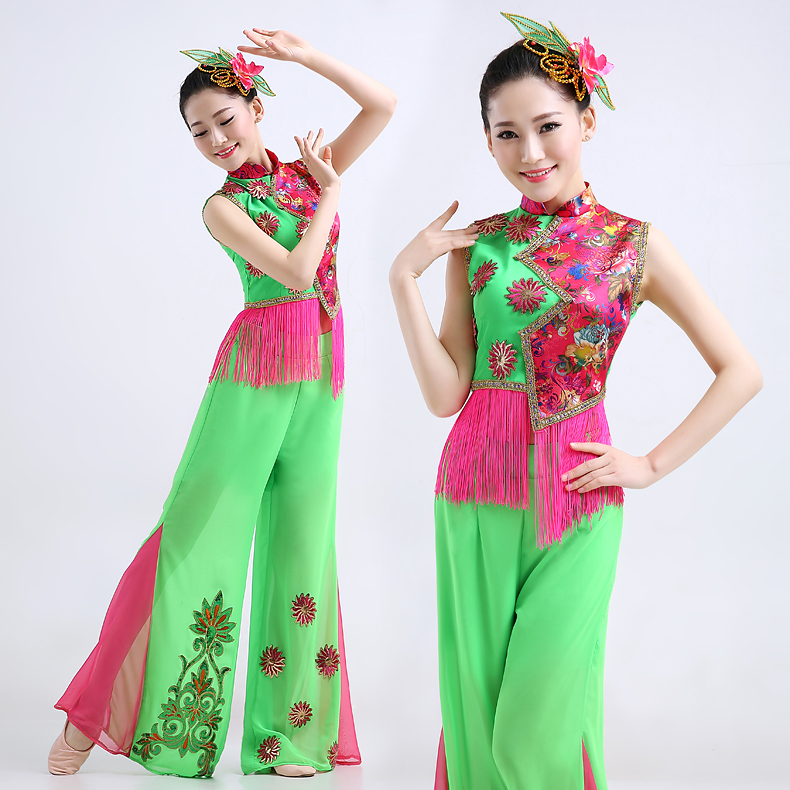 Younger clothing 2016 new spring and summer jasmine dance fan dance costume costumes female models in the elderly square dance