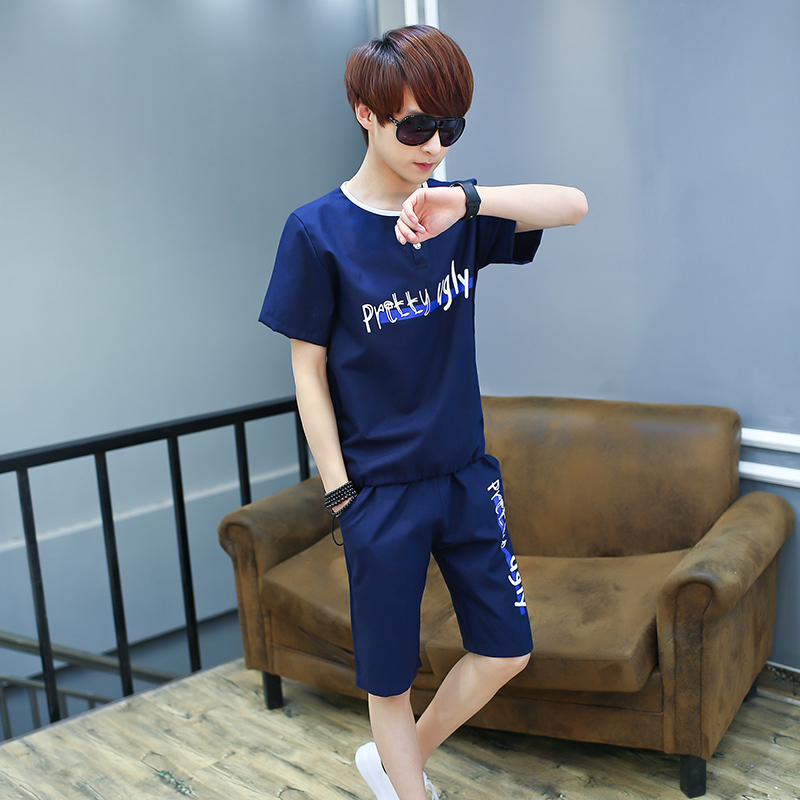 Youth short sleeve t-shirt suit male korean version of summer sports and leisure suit trend of men's casual summer clothes