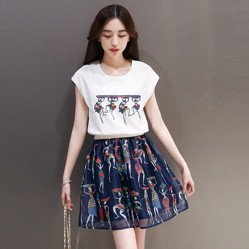 Youth summer college girl student college wind sweet chiffon shirt printing skirt piece fitted short sleeve dress