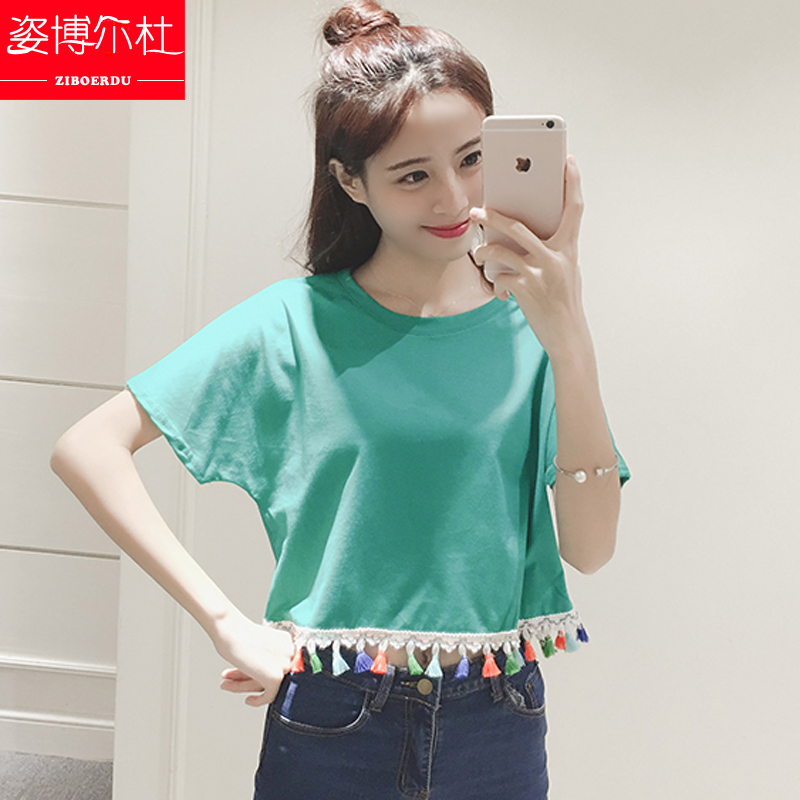 Youth summer new national wind loose short paragraph bat shirt short sleeve t-shirt middle school girls fashion coat
