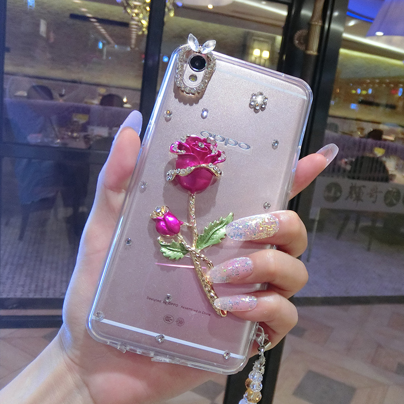 Youth version of the phone shell huawei p8 p8max p8mini dimensional flowers cherry samelitter tassels lanyard protective shell