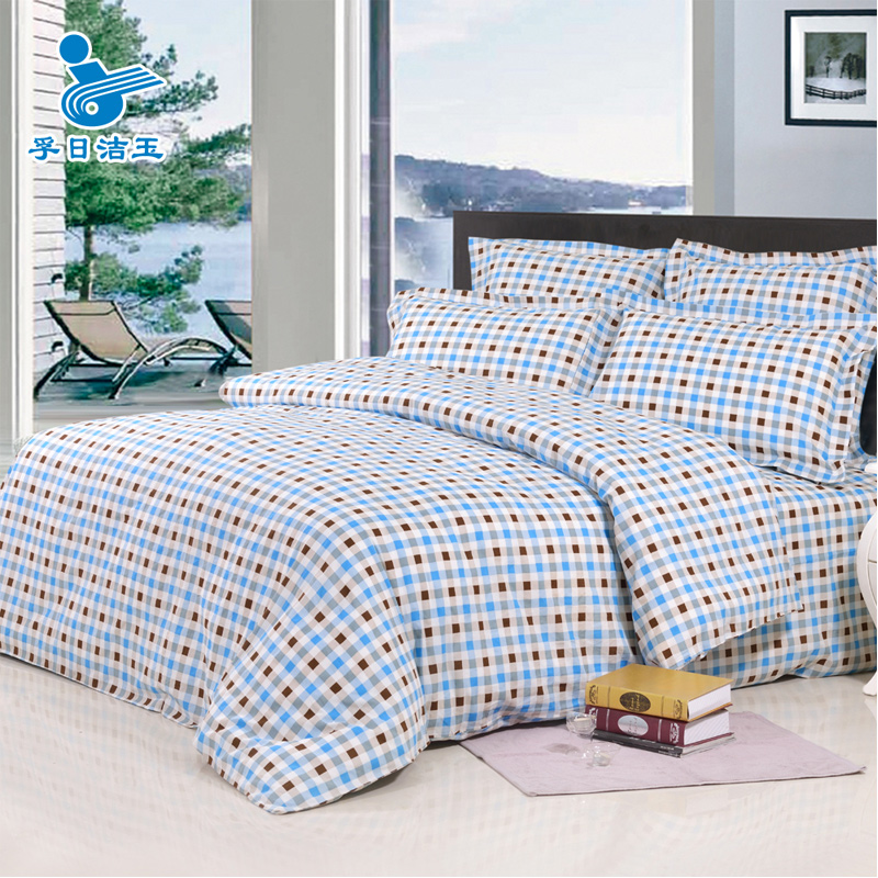Yu jie simple and stylish cotton printing a family of four fresh cotton plaid m 4 pieces of sets of bedding package