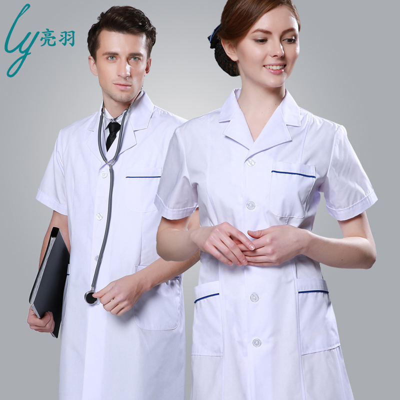 Yu liang doctors serving a white lab coat summer short sleeve nurse pharmacy beauty salon dental lab coat uniforms for men and women