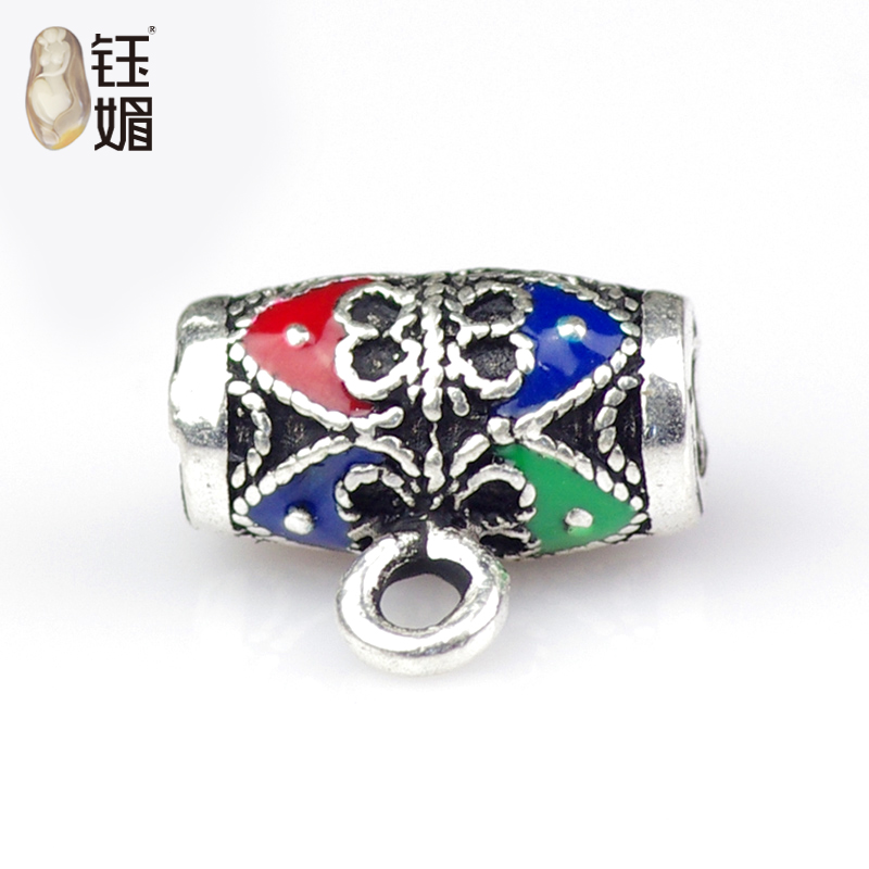 Yu mei 925 silver cloisonne enamel filigree jewelry accessories diy accessories three color silver pendant care