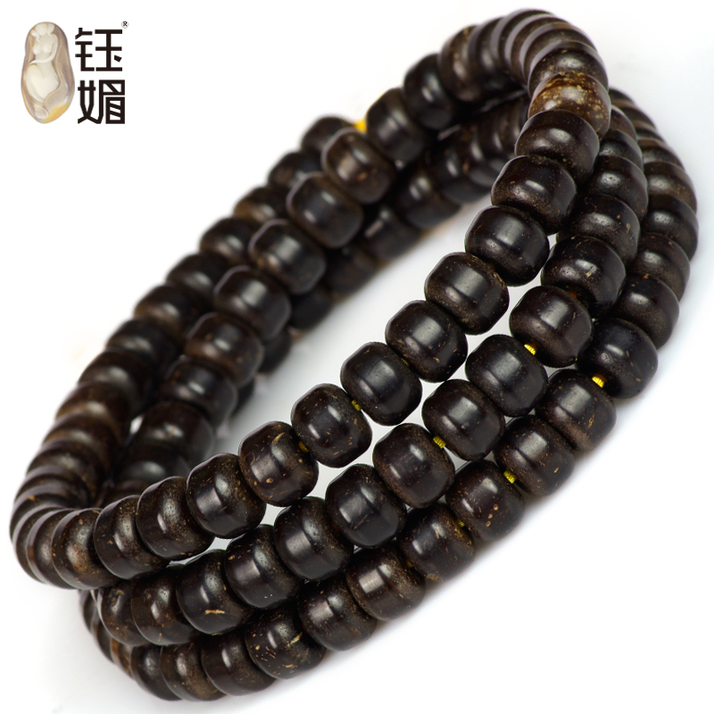 Yu mei natural coir pedicle material barrel bead bracelets beads gold 108 coconut shell beads necklace multi size