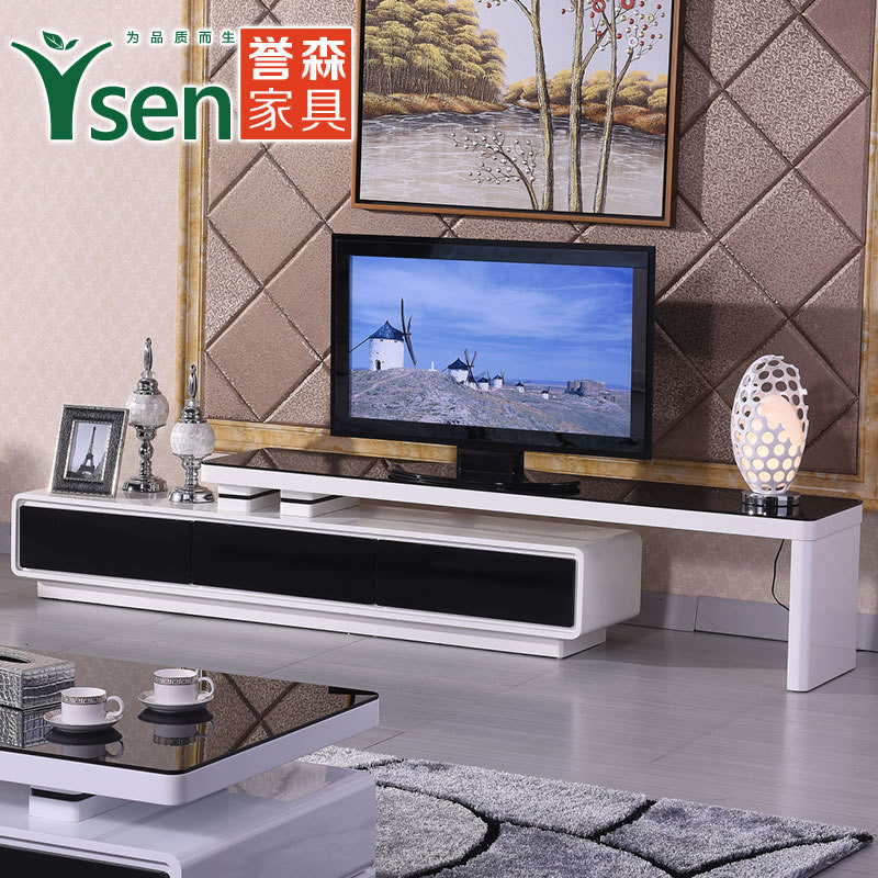 Yu sen living room modern minimalist fashion tv cabinet tv cabinet retractable paint tempered glass tv cabinet to cabinet