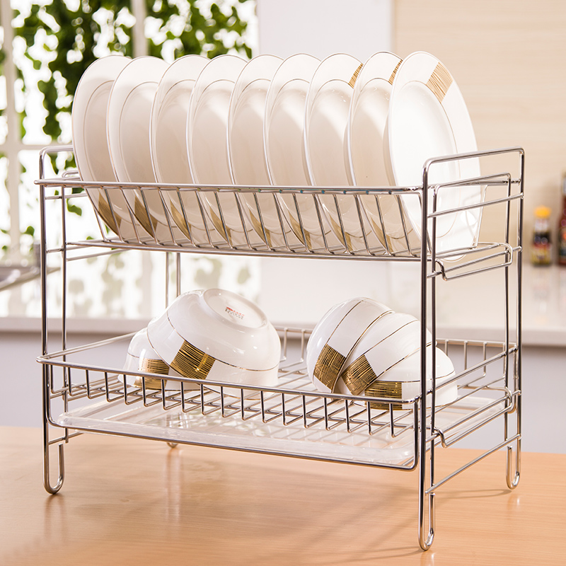 Yu shi home 304 stainless steel double dishes drip drain rack dish rack large kitchen shelving storage rack set