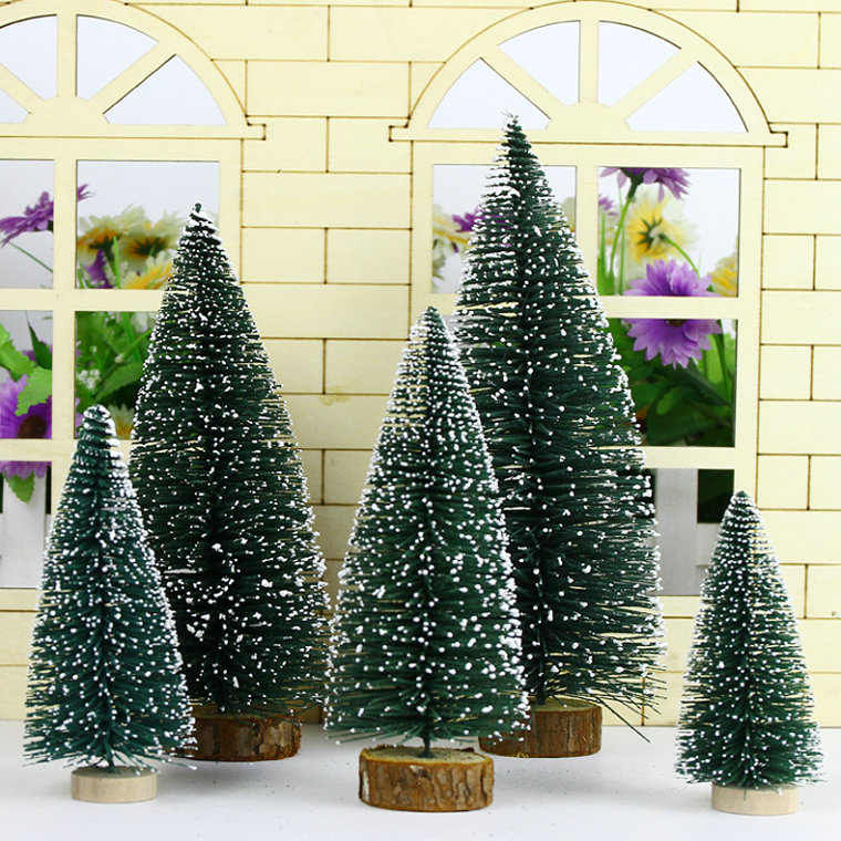 Yu wild flocking mini desktop christmas tree decoration decorative props christmas decorations
