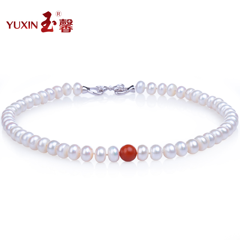 Yu xin mayhidden glare natural pearl necklace full of meat fidelity baoshan southern red pearl necklace female