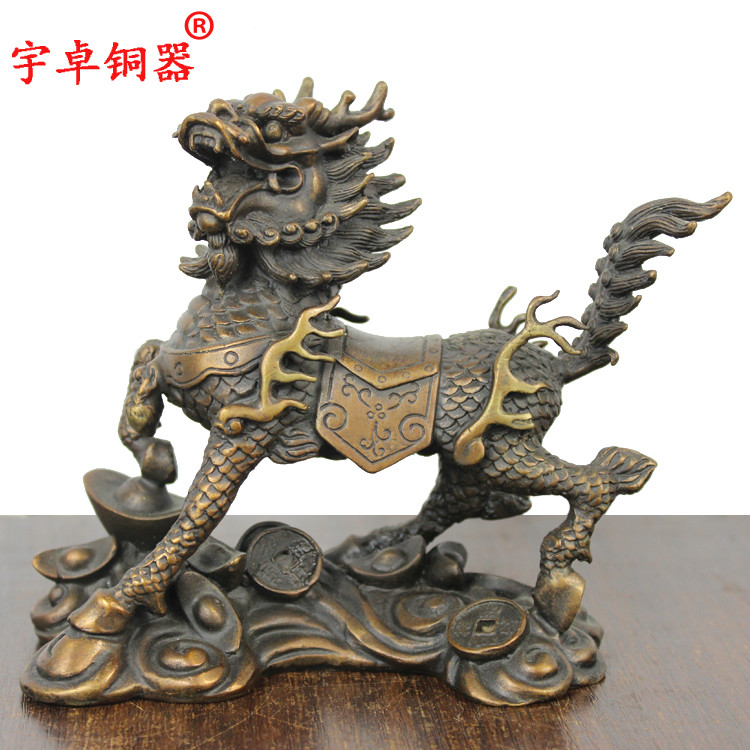 Yu zhuo brassware collected money lucky unicorn ornaments cai copper unicorn riding a cloud clouds unicorn crafts