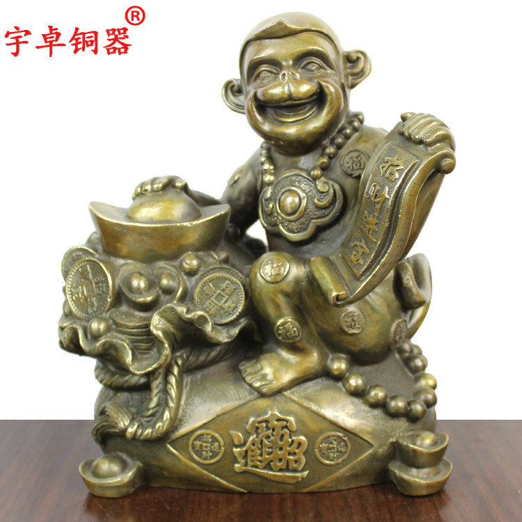 Yu zhuo bronze copper copper foot hold gold purse monkey monkey zodiac monkey ornaments crafts home decoration
