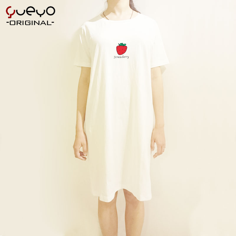Yueyo/wyatt tour korean fresh short sleeve nightdress nightgown female summer cotton tracksuit pajamas female loose