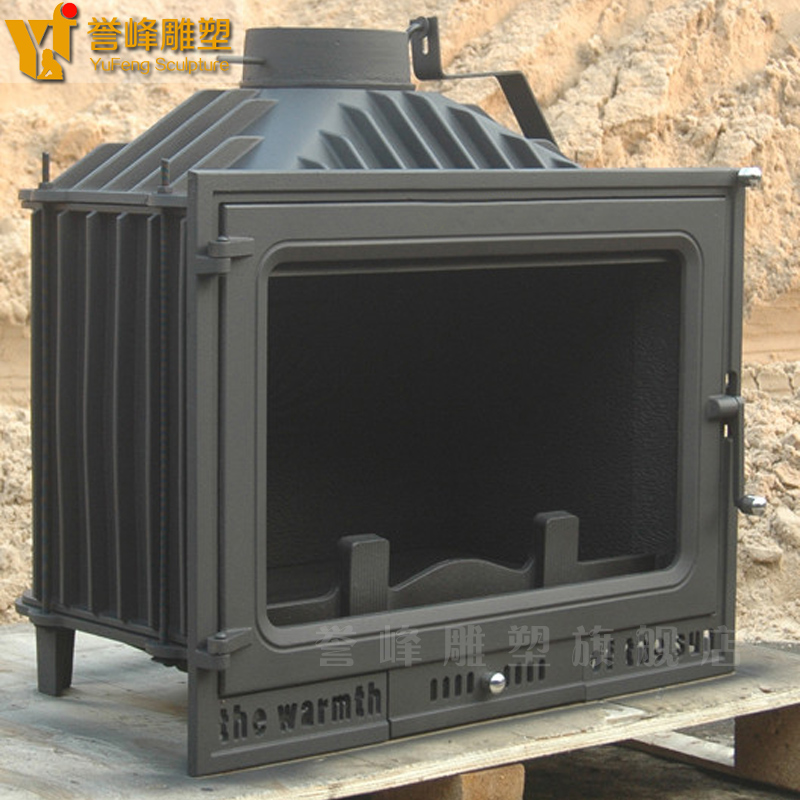 Yufeng embedded fireplace cast iron fireplace heater core heating one side view of the fire burning cast iron wood burning fireplace continental