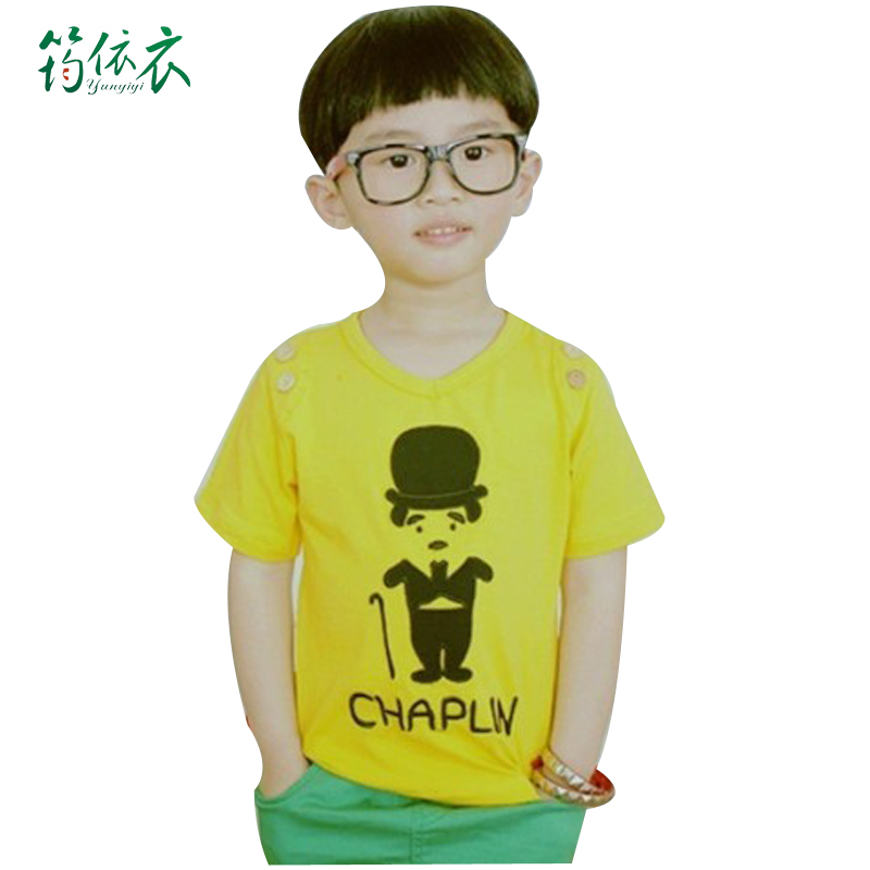 Yun clothing by kids boys summer new cartoon images of villain children's short sleeve solid color casual t shirt s056