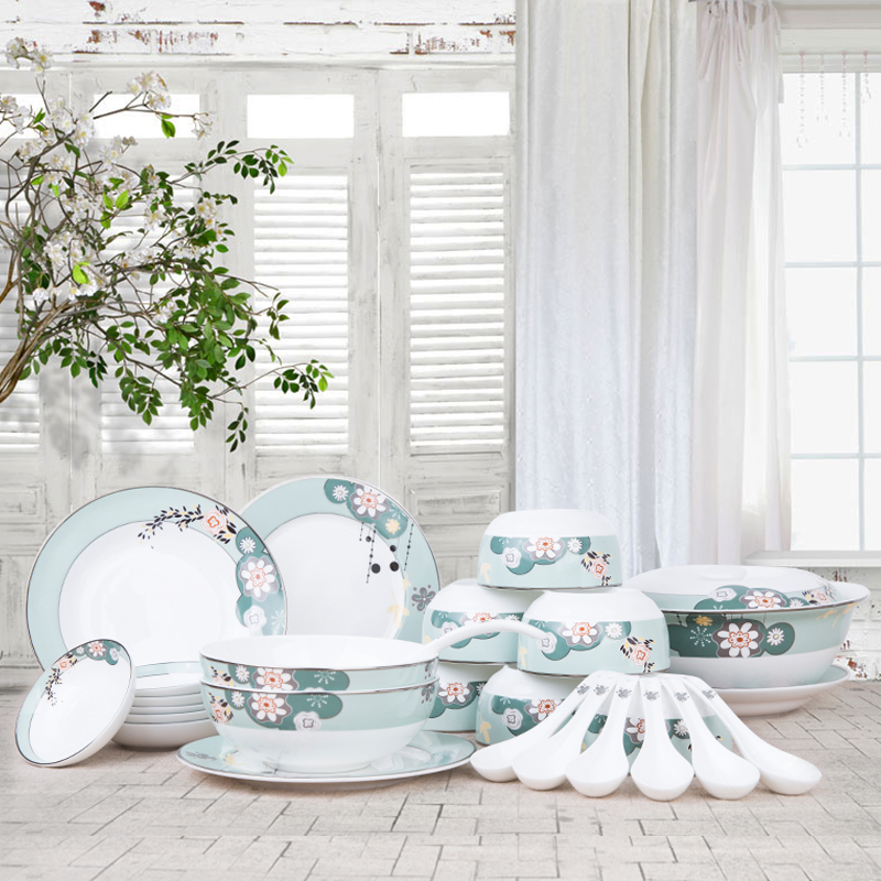 [Yuquan] afternoon garden bone china tableware suit bowl set 26 head of household ceramic bowl dish chinese dish