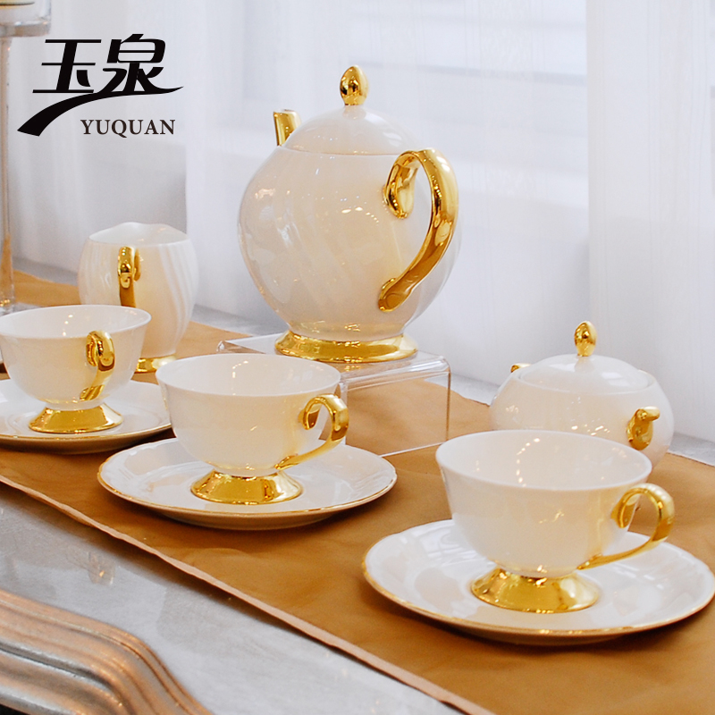 [Yuquan] clouds tea set bone china tableware suit western red tea set snap set of wedding gifts
