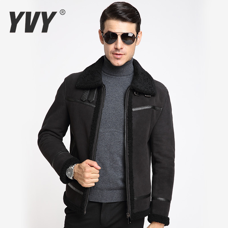 Yvy2016 winter new haining leather male fur leather fur lambs wool coat lapel business