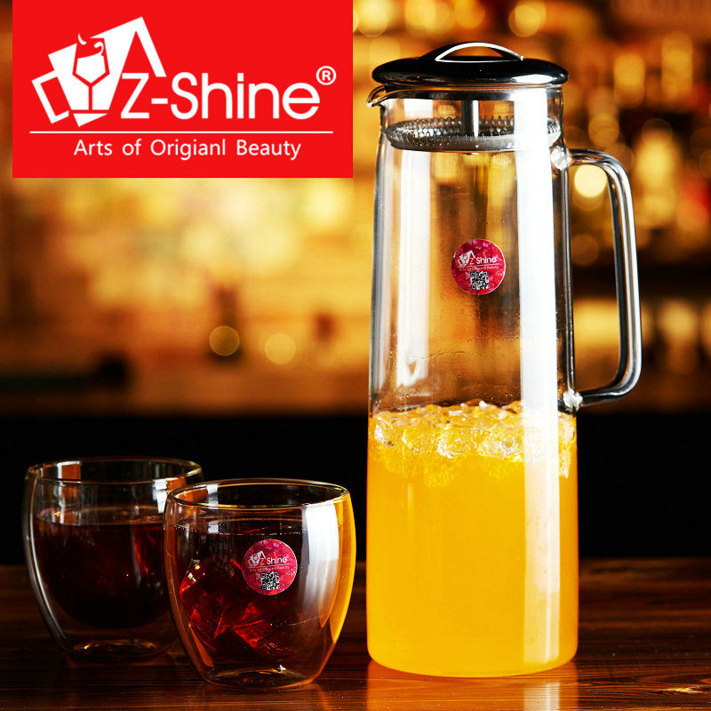 Z-shine creative cold resistant glass kettle shuiju suit cup double cup juice cup beer cup cold water pot