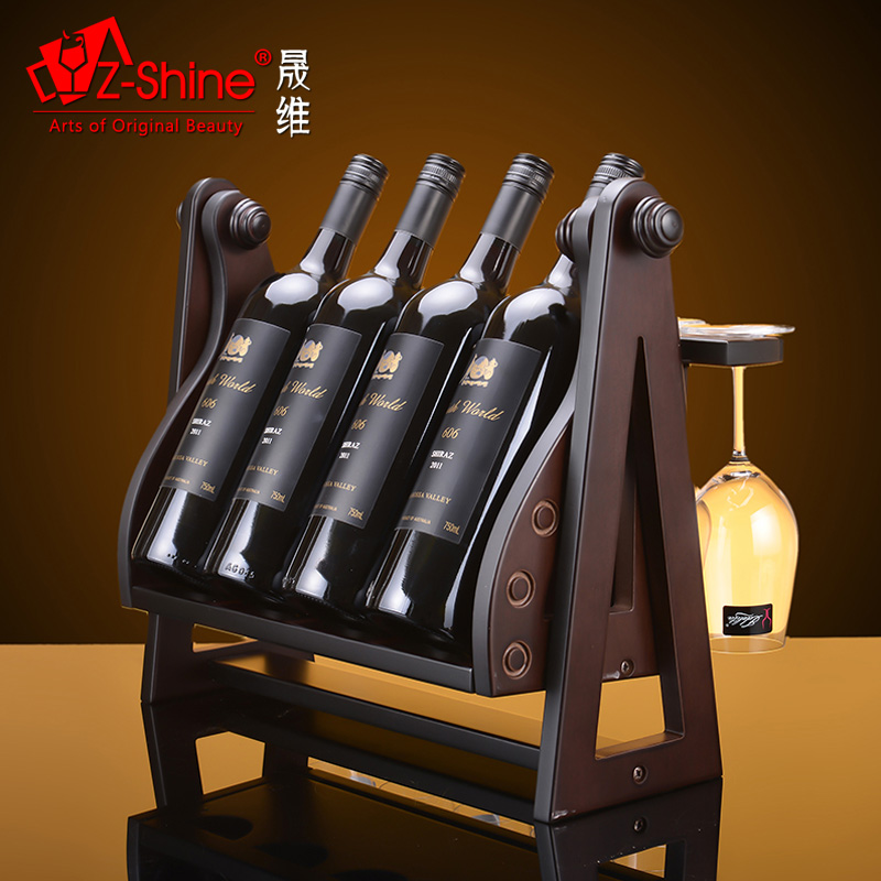 Z-shine sheng dimentional wooden living room ornaments european wine rack wine rack simple wooden wine rack wine cup holder wine
