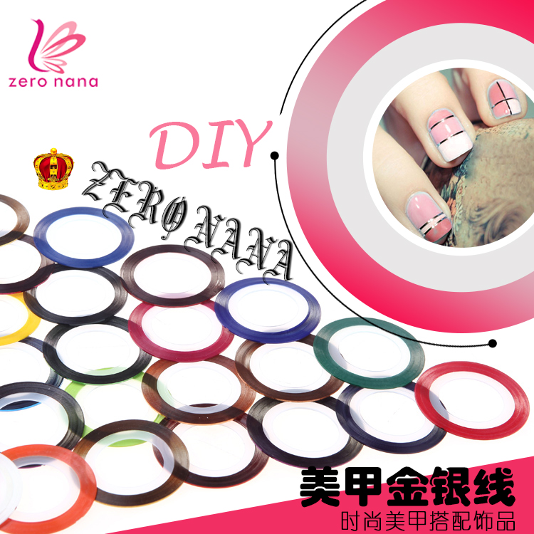 Zero nana nail tools nail supplies gum line nail stickers nail stickers gold and silver painted metal wire with a super flash