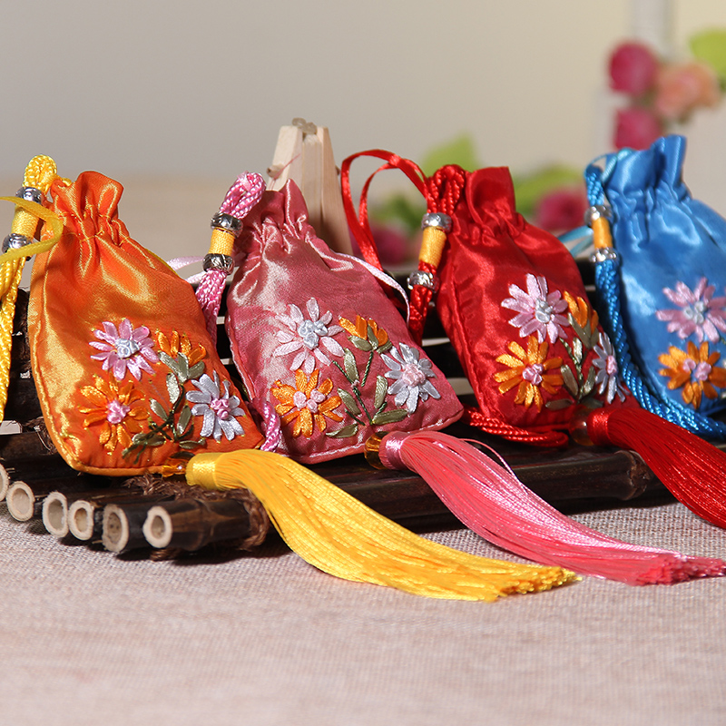 Zhe xi shun boutique embroidery cording sachet halter nagaami wardrobe sachets car ornaments empty bag with tassels
