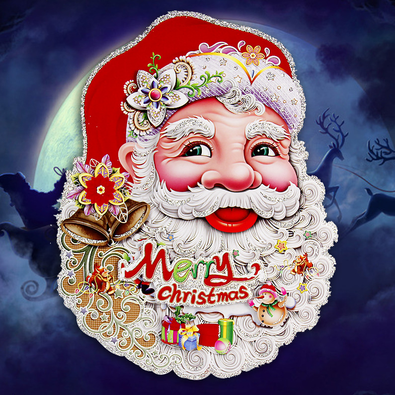 Zhe xi shun christmas decorations christmas tree santa claus pull the car door stickers grilles paper cut three-dimensional collage