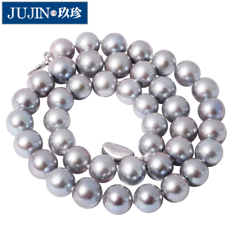 Zhen jiu bright silver perfect circle of light for volatilisation is 11MM natural freshwater pearl necklace female models to send her mother a gift