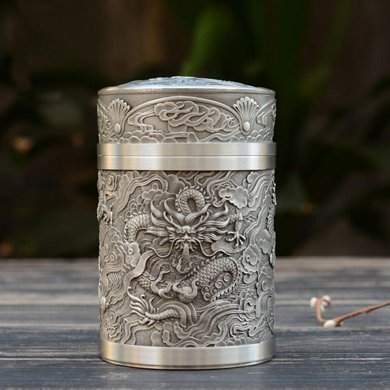 Zhen lai court dragon dragons saatchi large tin cans canisters malaysia pure tin tea caddy tin tea sets to send to friends