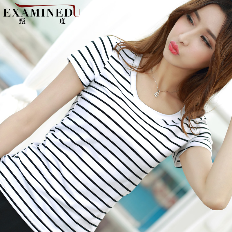 Zhen of female black and white striped t-shirt round neck short sleeve t-shirt blouse large size women summer cotton cultivation cultivation