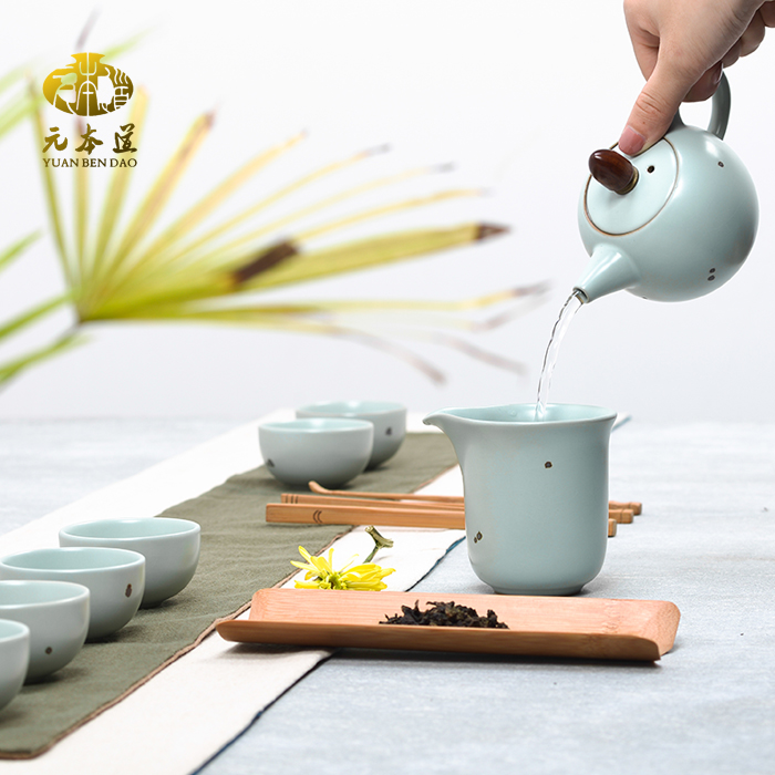 Zhen tibetan yuanben road ru ru tea sets opening film can be raised ru spot iron teapot tea cup onion skin pattern