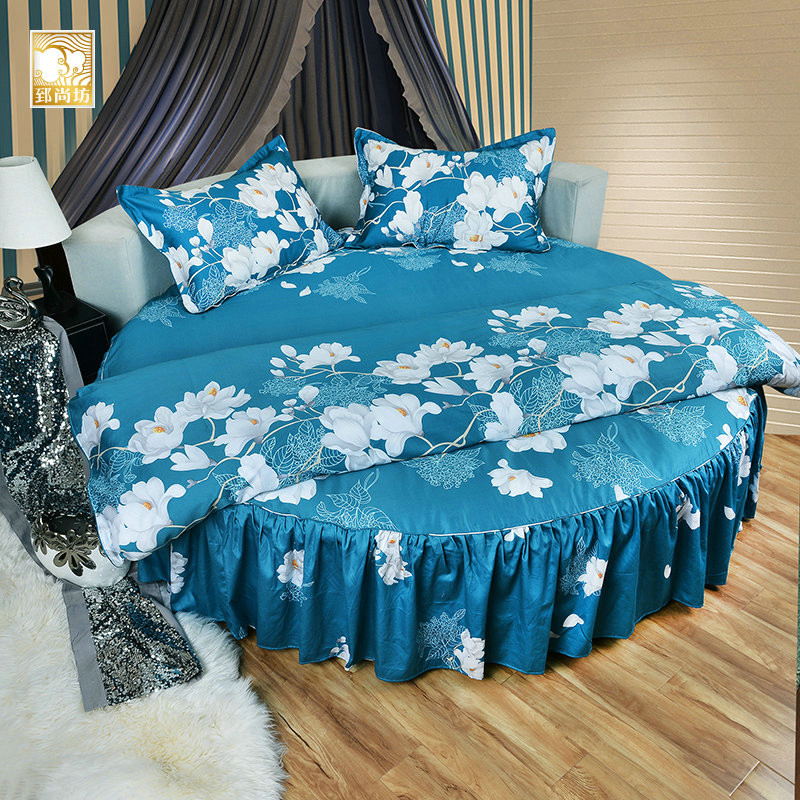 Zhi shang fang peacock blue cotton round bed family of four sanding lilies round round bed linen bedspreads kit custom inlaid