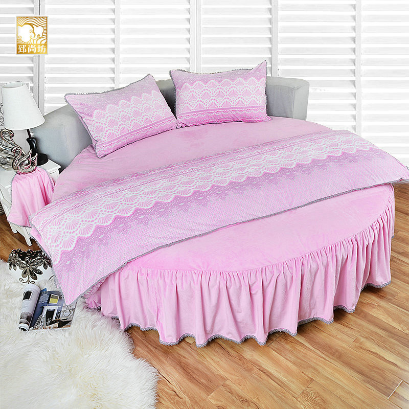 Zhi shang fang round round bed linens custom autumn and winter thick velvet coral velvet bed li family of four custom rose flower + rose