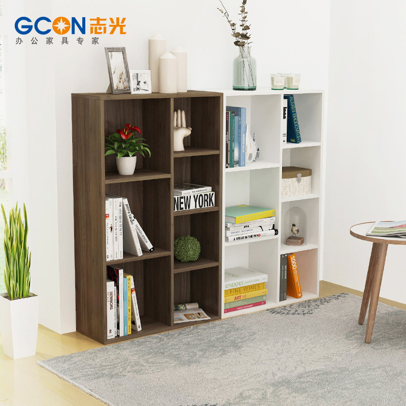 Zhiguang gcon combination of new wooden office file cabinet wooden plate bookshelf modern minimalist shelving