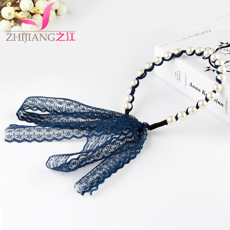 Zhijiang sweet gauze ribbon lace headband hair band korea imitation pearl straps hair headband headdress hair accessories card