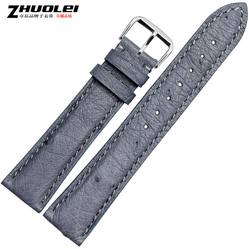 Zhuo lei leather strap watch with 100% ostrich leather strap leather strap 12 | 14 | 16 | 18 | 20mm