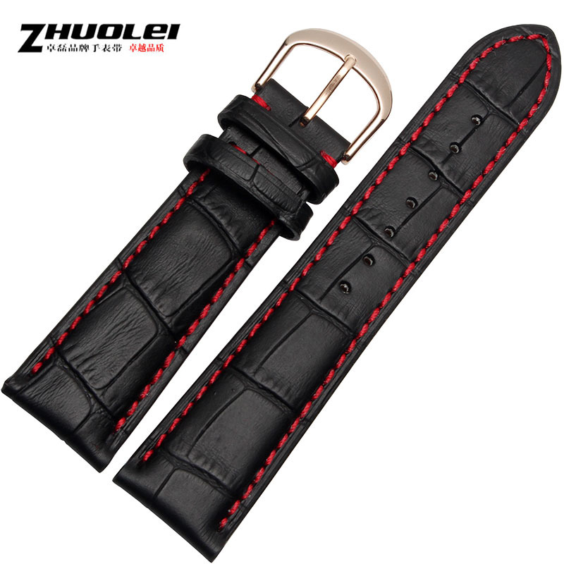 Zhuo lei leather watchband male black red tag heuer adaptering longines citizen 20 21 22 23 24mm