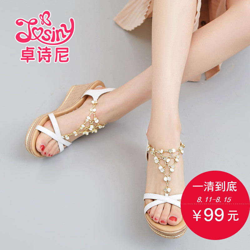 5be462dee1c5 Get Quotations · Zhuo poetry nigeria 2016 new summer wedge sandals with thick  soles flat waterproof open toe high