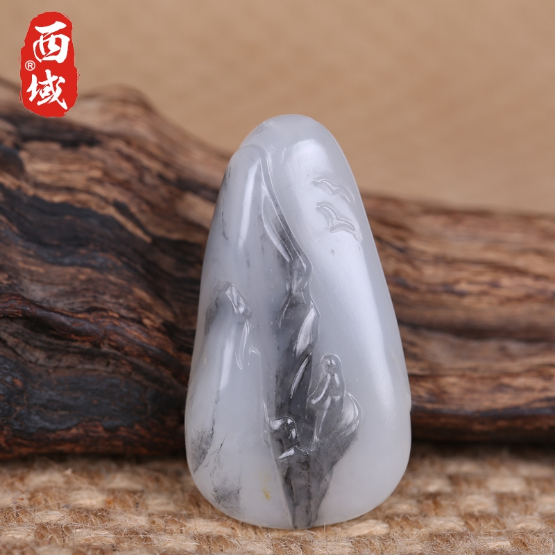 Zhuo wei works in xinjiang and nephrite seed material of the western jewelry male and female models pendant jade tablets 18 grams of blue and white landscape