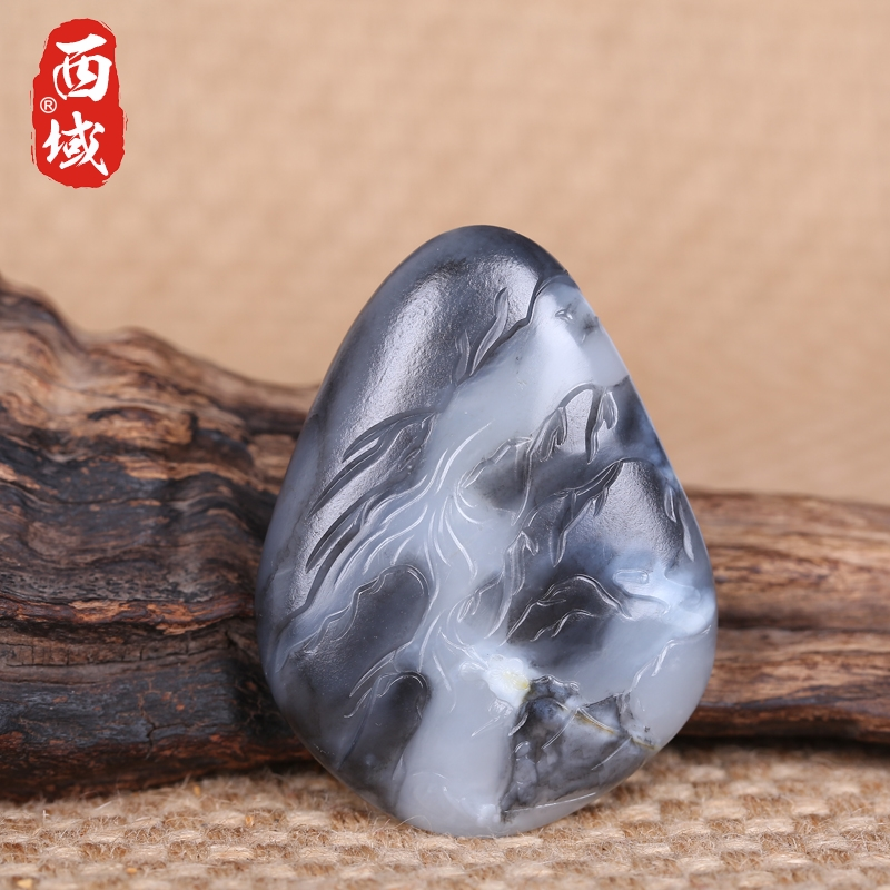 Zhuo wei works in xinjiang and nephrite seed material of the western jewelry male and female models pendant jade tablets 53.5 grams of blue and white landscape