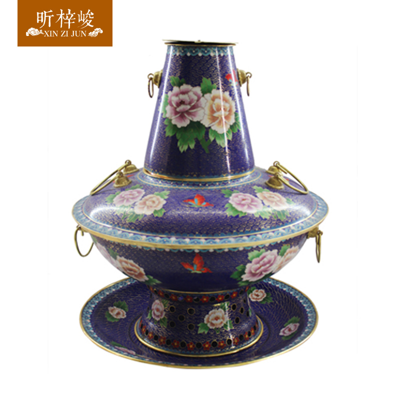 Zi xin cloisonn for completion of the blue and white peony copper thick pure copper copper pot charcoal charcoal fire boilers fashioned copper Hot pot