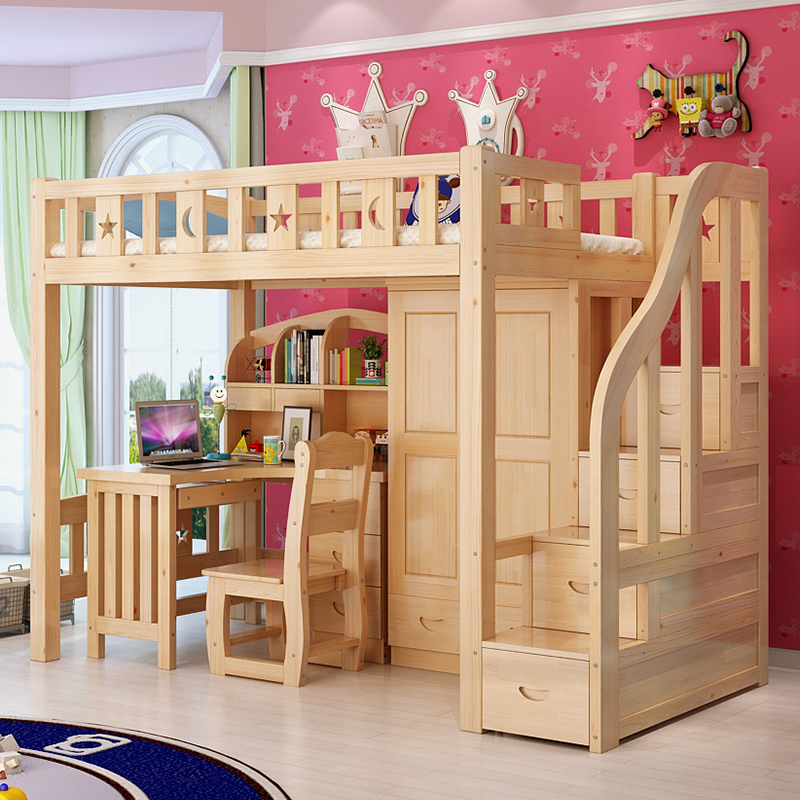 Zi xin wood loft bed all solid wood children's bed multifunctional bed wardrobe combination ladder cabinet bed desk bed bed Under the table