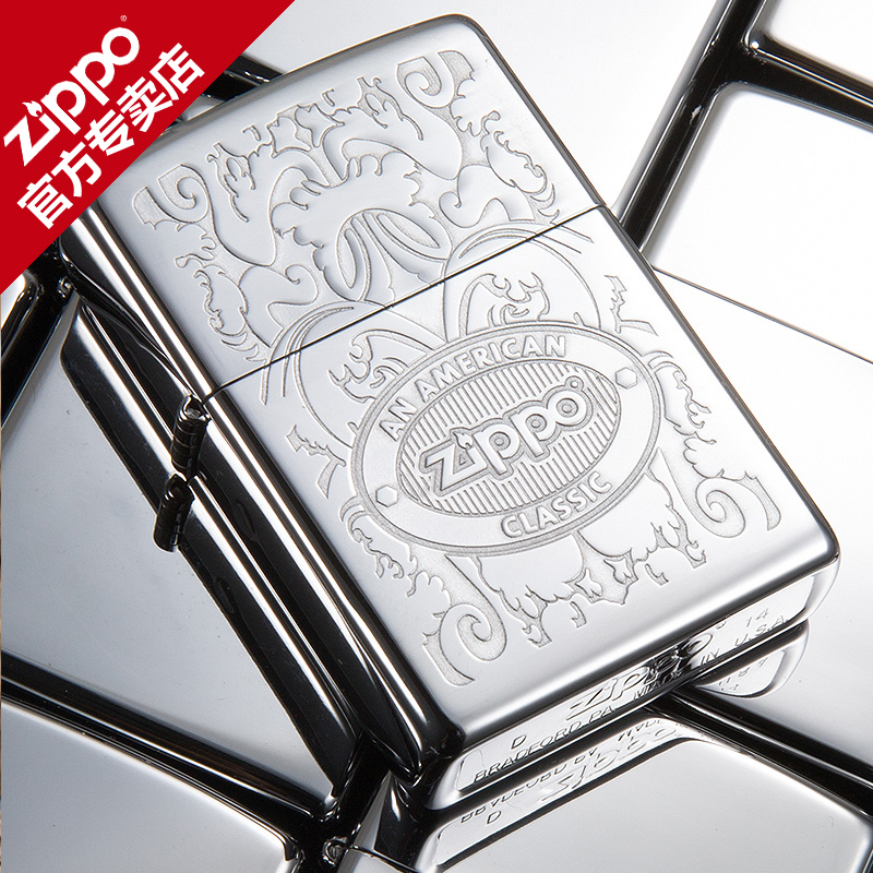 Zippo lighters genuine american original authentic zippo logo mirror carved deep crown 24751 flagship store