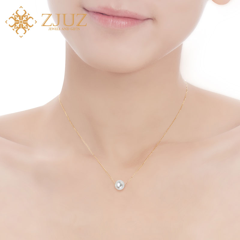 ZJUZ18K women's singles pieces of natural freshwater pearl gold pearl necklace passepartout clavicle chain pendant genuine
