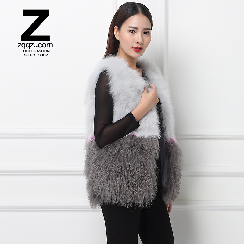 Zqqz fox fur vest and long sections to fight 2015 beach wool vest fur vest leather grass female lambs wool vest