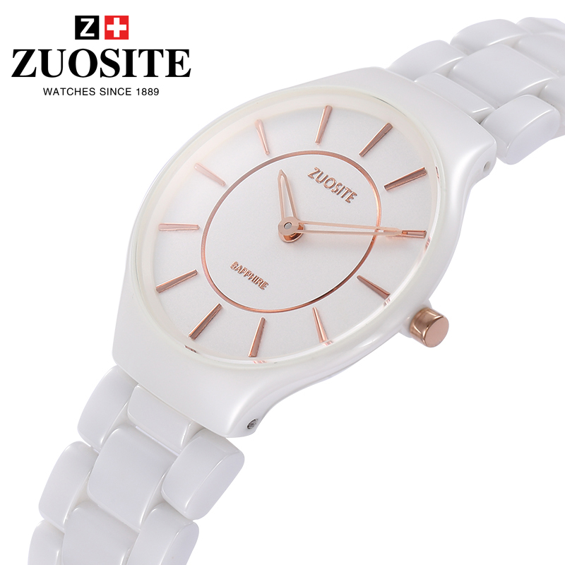 Zuo site authentic ceramic watches female white male watch female form female fashion explosion models with disabilities watches waterproof couple models