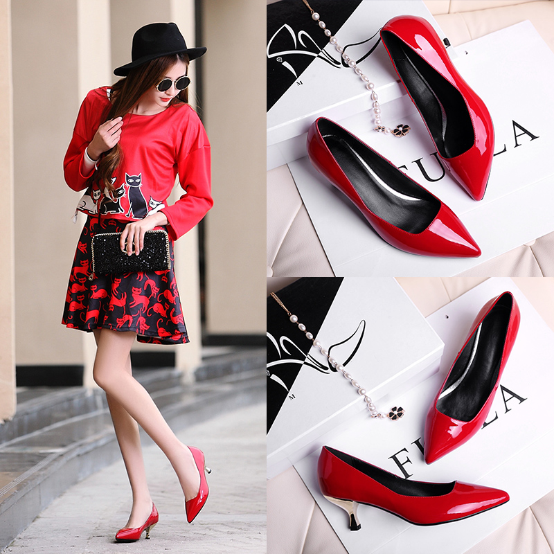 Zuoman 2015 spring and summer shoes leather pointed red high heels rough with shallow mouth work shoes wedding shoes patent leather shoes