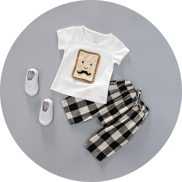 0-1-2-3-year-old male and female baby summer clothes infant summer suit thin section autumn baby out clothes short sleeve